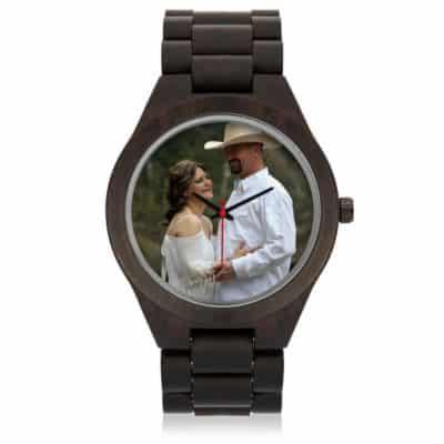 Custom Sandalwood Photo Watch: Brown Color, Anniversary Gift