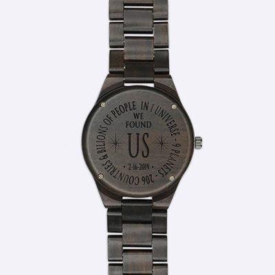 Custom Sandalwood Photo Watch: Laser Engraving Message on Caseback