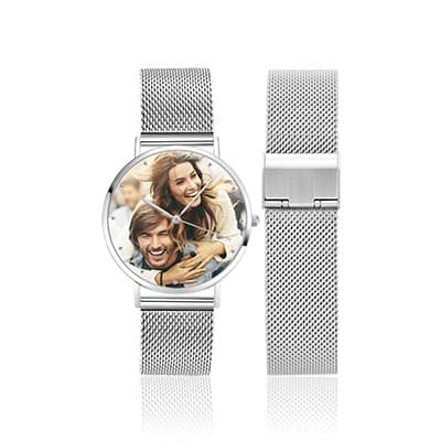 Silver Colored Special Alloy Engraved Photo Watch - Soufeel