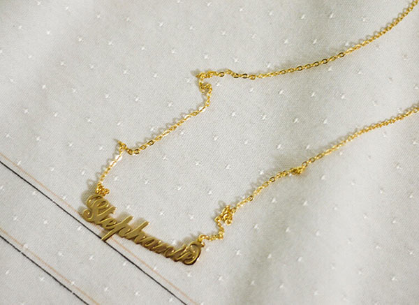 Stephanie's Carrie Necklace on a Piece of Off-White Cloth