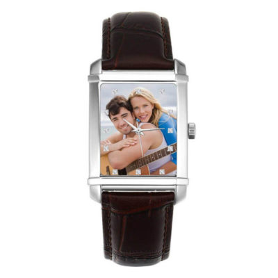 Square Engraved Photo Watch With Leather Strap
