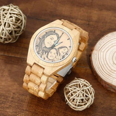 Bamboo Watch With Family Photo Engraved on the Dial