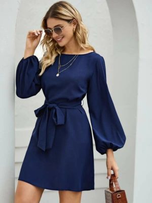 Outfit Suggestion for Carrie Necklace: SHEIN Boat Neck Bishop Sleeve Belted Dress