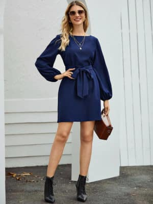 Outfit Suggestion for Carrie Necklace: Fashion Model Dressed in Boat Neck Bishop Sleeve Belted Dress