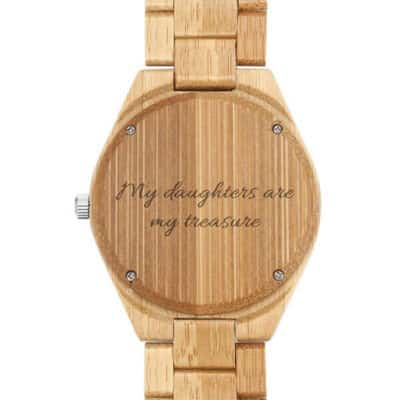 Memorial Message Engraved on the Caseback of Bamboo Photo Watch
