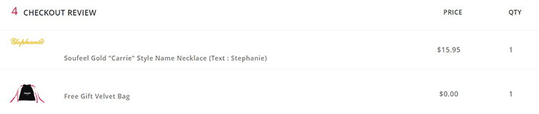Checkout Dashboard of Stephanie's Name Necklace