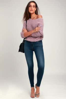Outfit Idea for Soufeel Carrie Necklace: Model Wearing Carino Dusty Purple Off-The-Shoulder Sweater