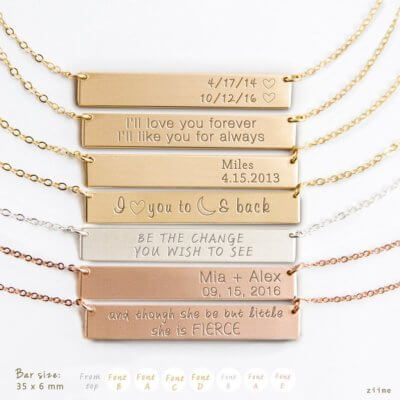 A Myriad of Engraving Options for Personalized Bar Necklaces