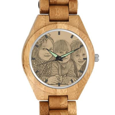 Soufeel's Men's Engraved Bamboo Watch With Photo