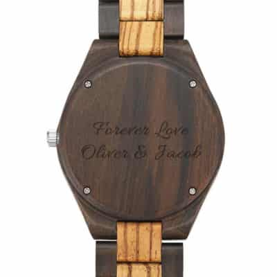 Wooden Photo Watch With Personalized Message Engraved on the Caseback