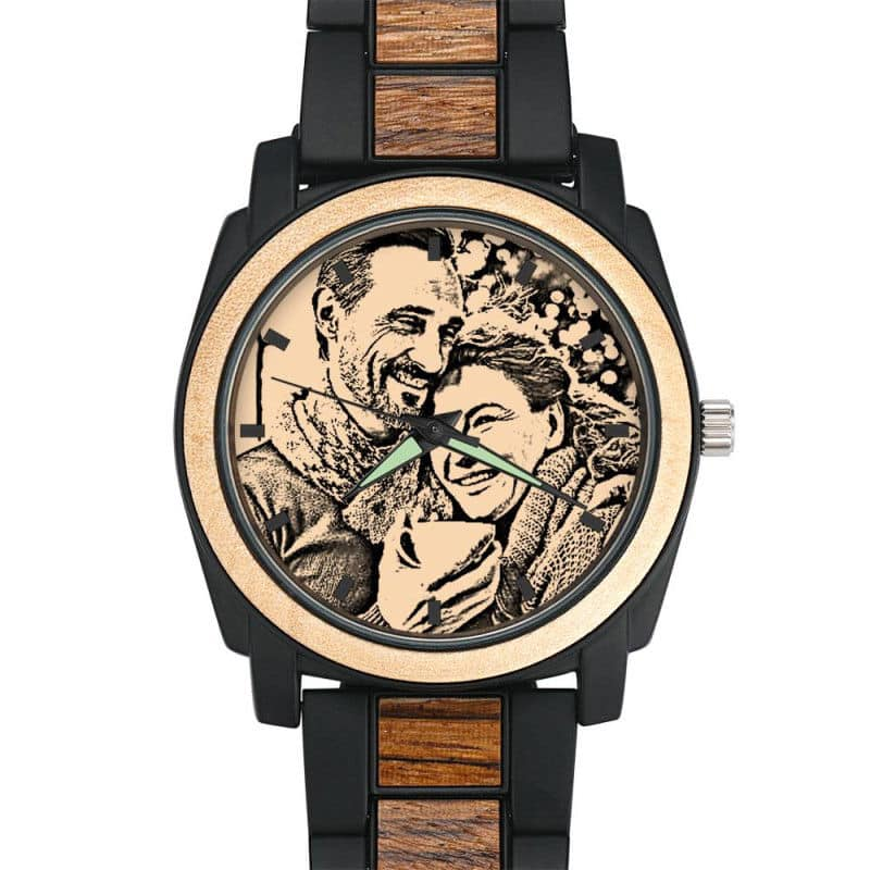 Personalized Engraved Photo Watch With Red Alloy Strap
