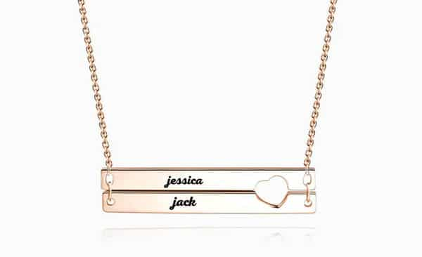 Unique Shaped Bar Necklace: Double Bars and Outlined Heart