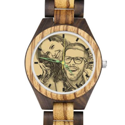 Fashion Wooden Photo Watch With Green Hands