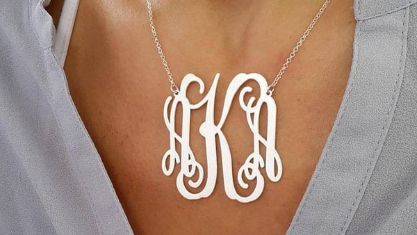 Personalized Large Monogram Necklace With a 2-Inch Monogram Pendant