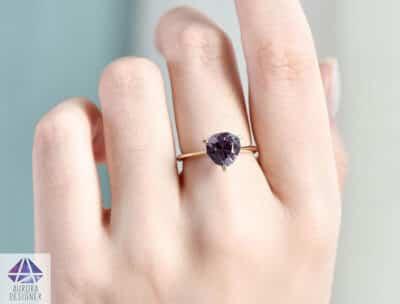 Purple Gemstone Jewelry: Purple Spinel 14K Yellow Gold Engagement Ring