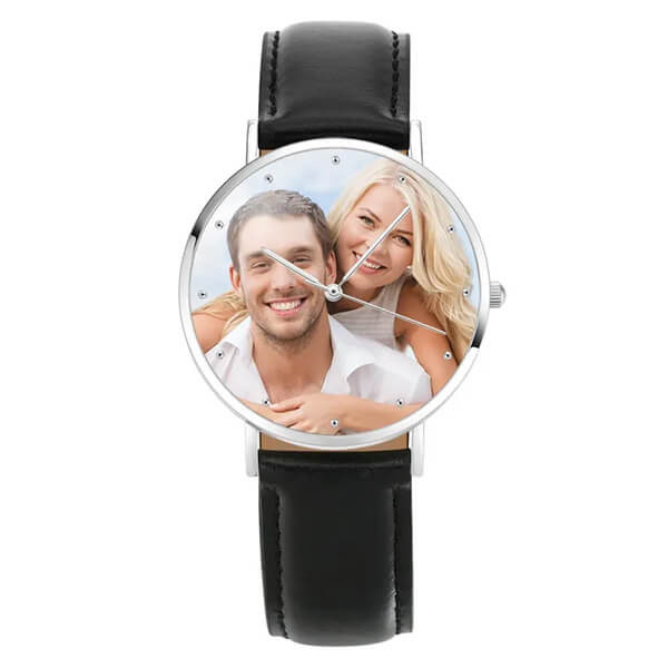 Soufeel Engraved Photo Watch: Unisex, Leather Strap and 40mm Dial