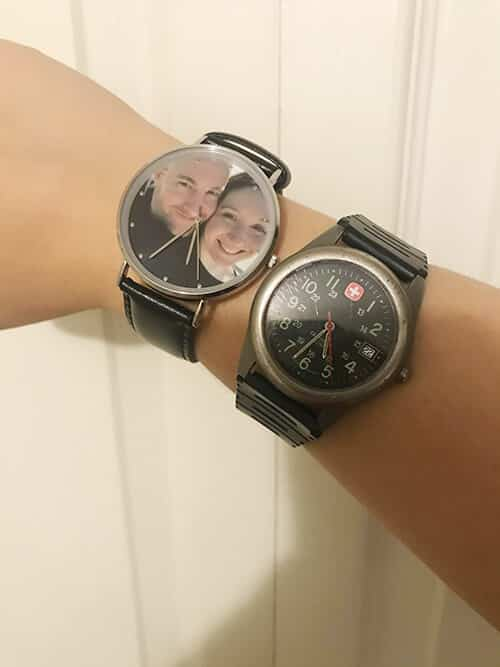Stephanie Wearing Soufeel Engraved Photo Watch and a Normal Watch