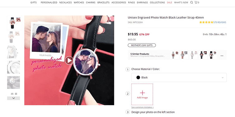 Soufeel Unisex Engraved Photo Watch: Product Page