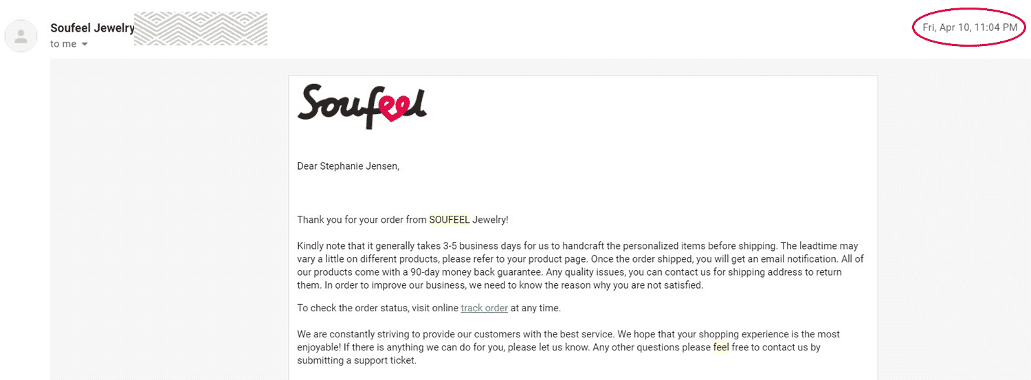 Notification Email From Soufeel for the Order Confirmation