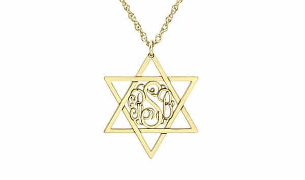 Star of David Custom-Shaped Monogram Necklace: Yellow Gold