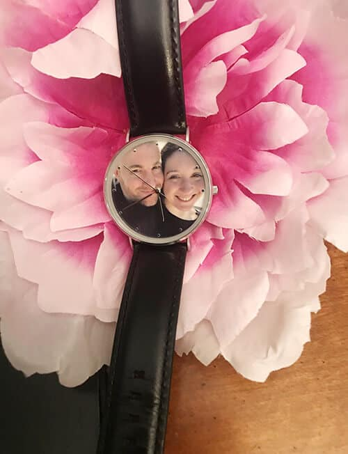 Stephanie's Personalized Photo Watch on a Flower Setting