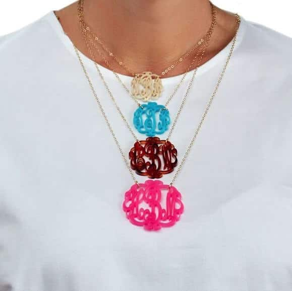 Acrylic Script-Style Monogram Necklace Created by Moon and Lola