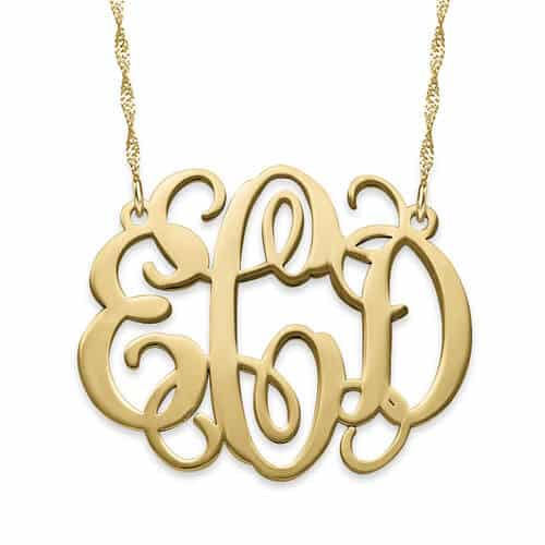 Celebrity 14K Gold Script Style Monogram Necklace by My Name Necklace