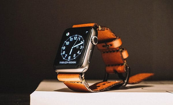 Custom Apple Watch With Brown Leather Strap