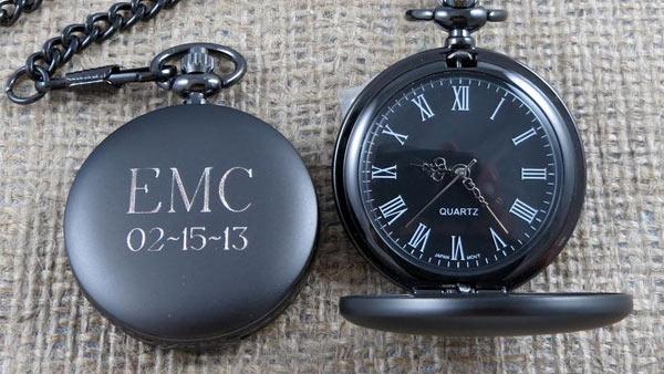 Custom Engraved Pocket Watch for Men (Timothy Pogorelc / Etsy)