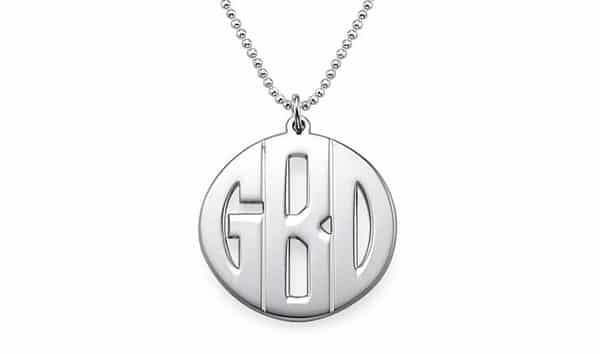 Custom Sterling Silver Block-Style Monogram Necklace by My Name Necklace