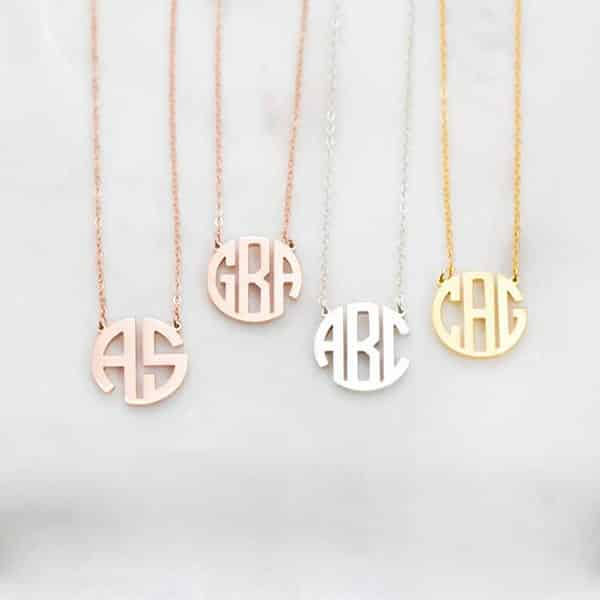 Custom Dainty Monogram Necklace: Great Gift for Mother's Day