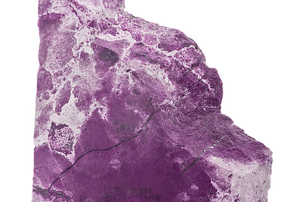 Textures of Purple Gemstones: Dark Purple Jasper Isolated on White Background