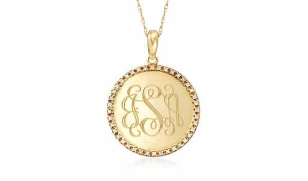 14K Yellow Gold Diamond Monogram Necklace by Ross Simons