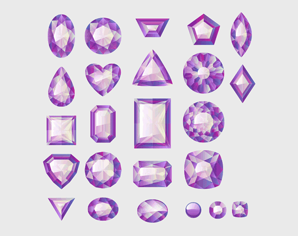 Different Cuts and Shapes of Purple Gemstones
