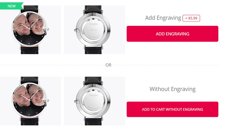Engraving Option Before Checkout: Commemorating a Special Person