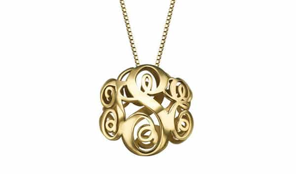Gorgeous 3D Monogram Pendant Necklace: Yellow Gold Plated