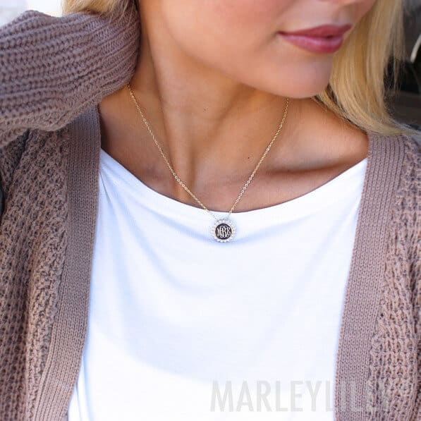 Lady Wearing the Marleylilly Monogrammed Pearl Necklace