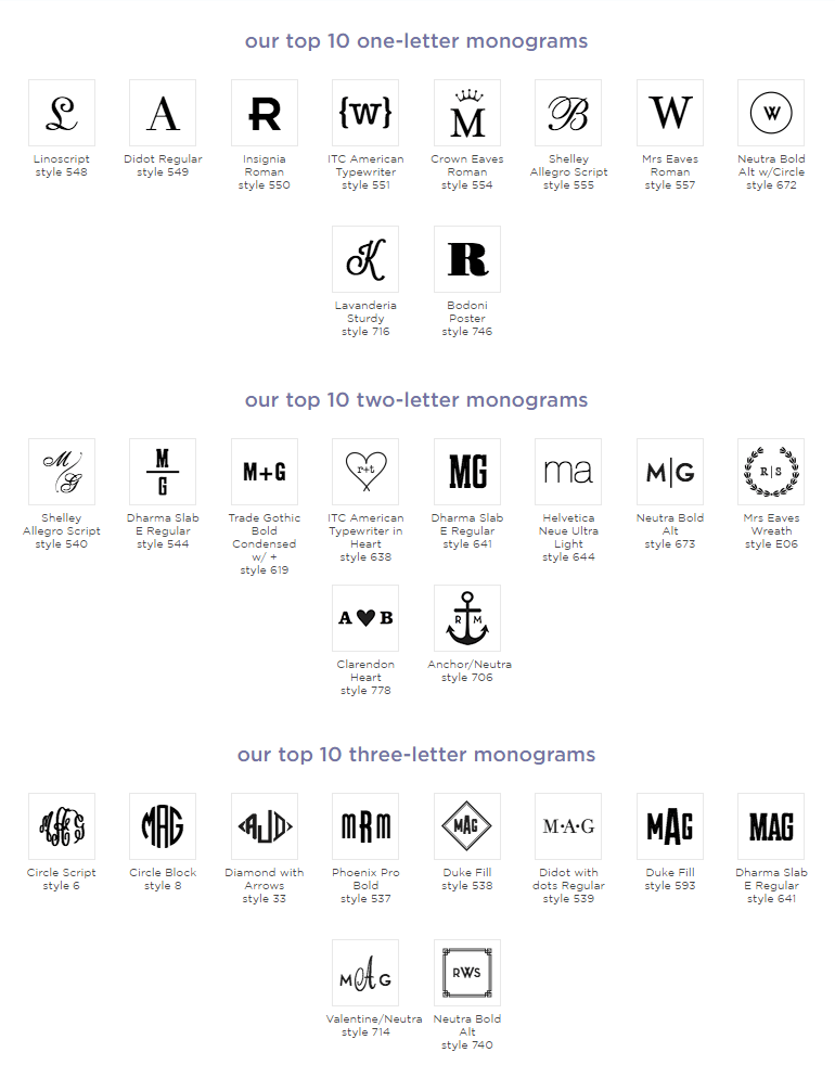 Monogram Font and Letter Combinations Examples by Mark & Graham