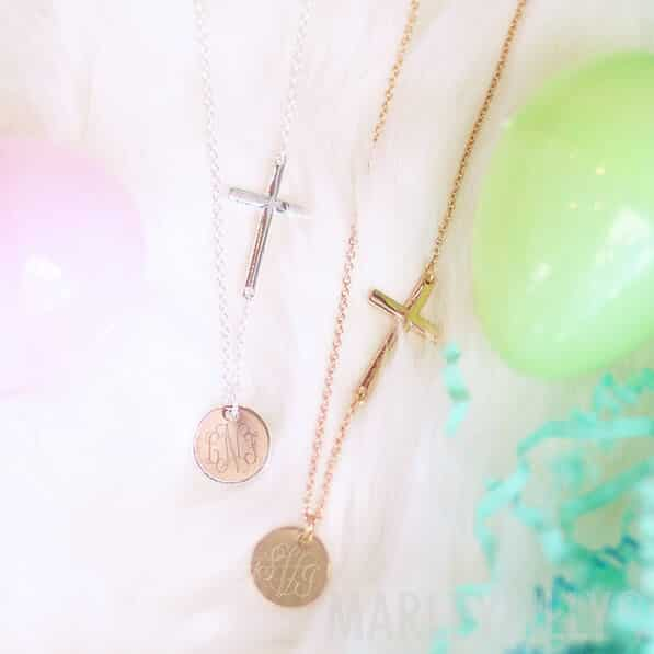 Monogrammed Cross Necklace: Gold and Silver Color Available