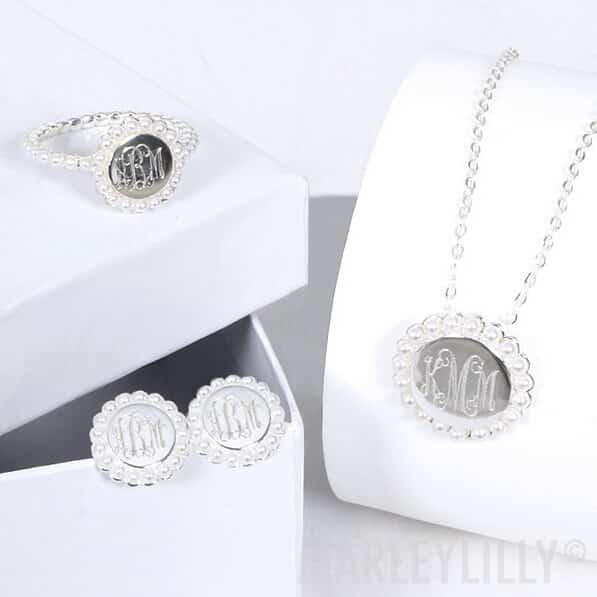 Marleylilly Monogrammed Pearl Necklace With Gift Package