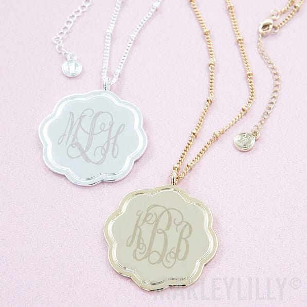 Personalized Monogrammed Scalloped Pendant Necklace: Custom-Shaped Necklace