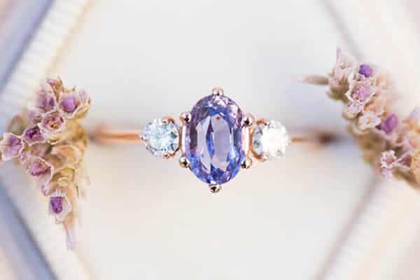 Purple Gemstone Used in Jewelry: Oval Lavender Purple Sapphire Ring