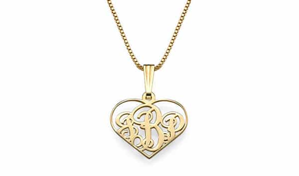 18K Gold Plating XS Heart Monogram Necklace by My Name Necklace