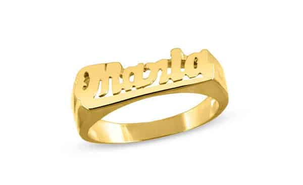 Gold-Plated Sterling Silver Name Ring—Straight on the Ring