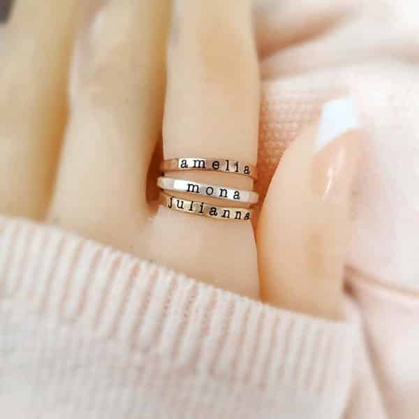 Stackable Name Rings: Multiple Rings Stacked Together