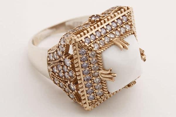 Turkish Handmade Square Shape White Onyx Ring