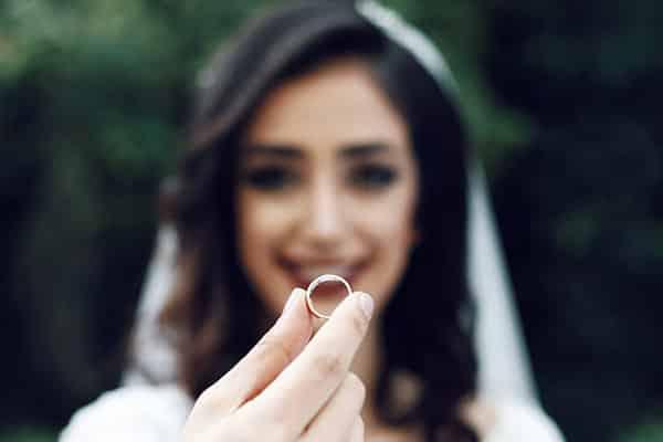 Bride Holding Her Custom Engraved Name Ring