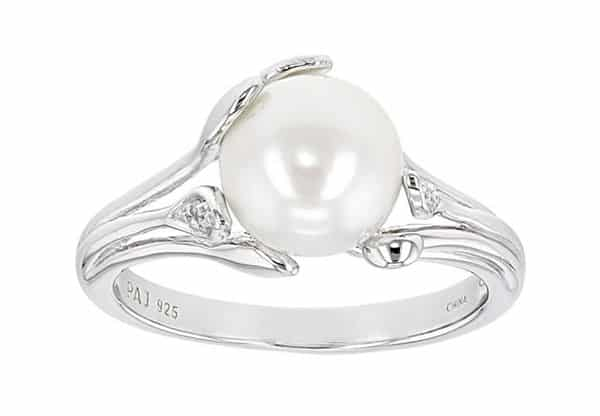Cultured Freshwater White Pearl Sterling Silver Ring