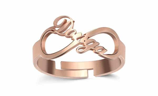 Custom Infinity Name Ring: Rose Gold, Name and Infinity Intertwined