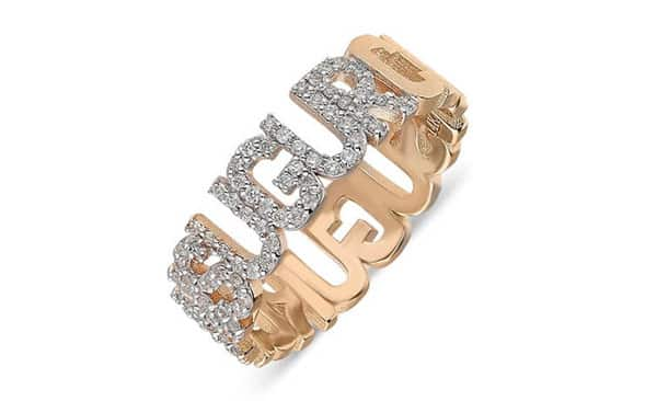Personalized Name-Wrapped Ring Embellished With Small Diamonds